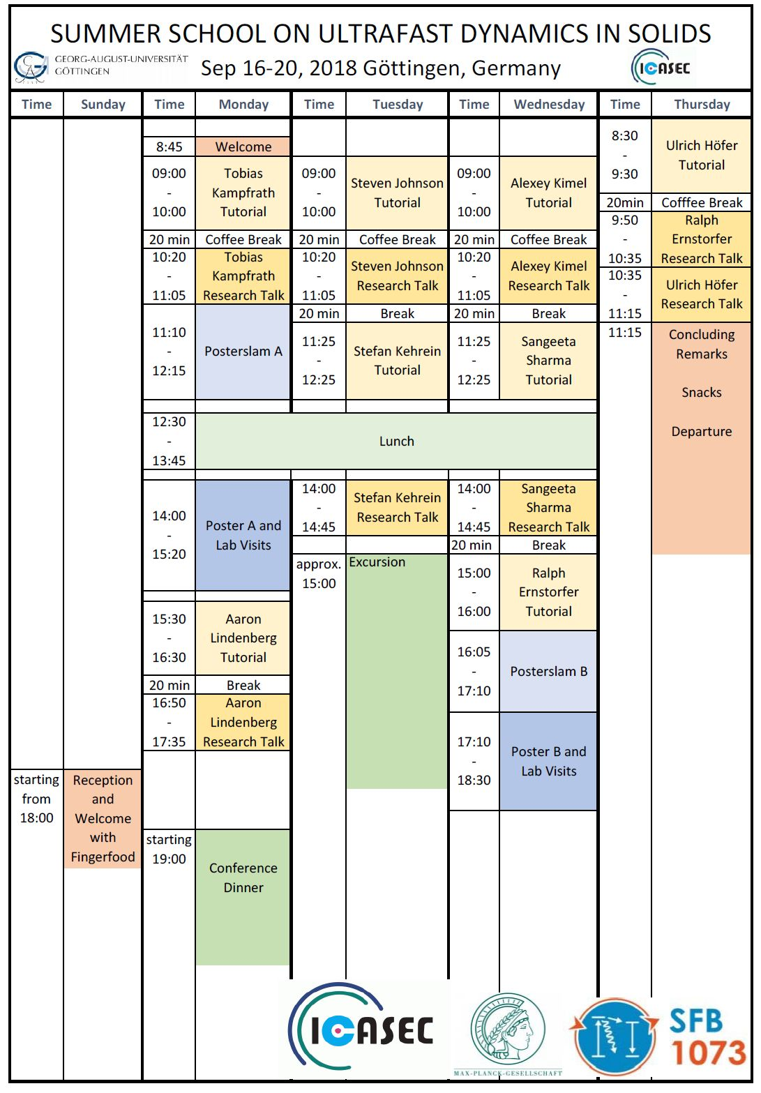 TimeTable Summerschool 2018